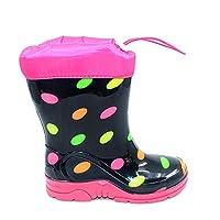 AYAKCİTY SRB Su Geçirmez Kürklü Çocuk Yağmur Çizmesi Kız Çocuk Bot Renkli Benekli