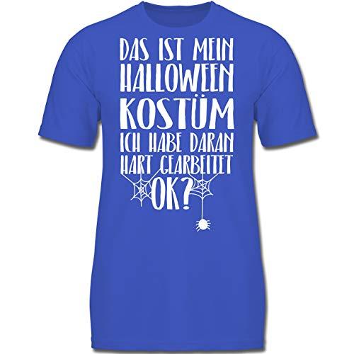 s ist Mein Halloween Kostüm - 128 (7-8 Jahre) - Royalblau - F130K - Jungen Kinder T-Shirt ()