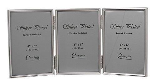 Evergreen Tarnish beständiger doppelter Bilderrahmen, dünner Rand, Silber überzogen , Silber, 3x 4x6 inch, 3x 4x6 inch