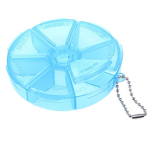 ROSENICE Pillendose Runder Tabletten-Organizer 7 Tage Pillenetui für Medizin Reisen Pill Container Weekly Holder (blau)