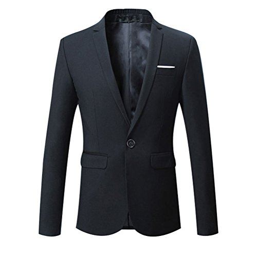 Zhhlaixing Classico Formal Mens Slim Fit Blazer One Button Business Suit Coats Solid Color