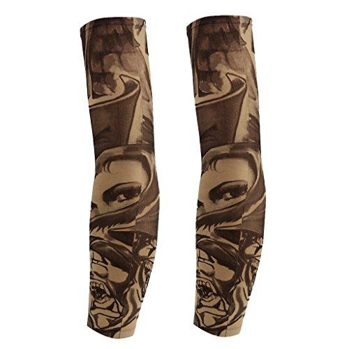 Braccio Gambe Di Protezione Roccia Maniche Manicotti per Sport Esterni Pesca Ciclismo Tatuaggio Anti UV - 13 Design - Modello #5,