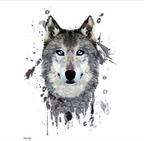nee Wolf Wasserdicht Temporäre Tätowierung Aufkleber Schönheit Tier Mode Temporäre Frau ()