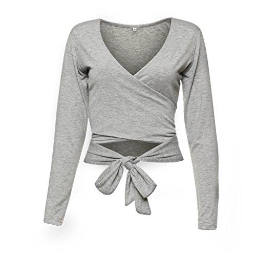 Femmes Sexy V-cou bandes croisées à manches longues Blouse Shirt Top T-shirt Gris