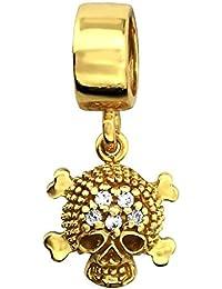 So Chic Joyas - Abalorio Charm Cráneo pirata Circonita blanco y chapado en oro de - Compatible con Pandora, Trollbeads, Chamilia, Biagi - Plata 925