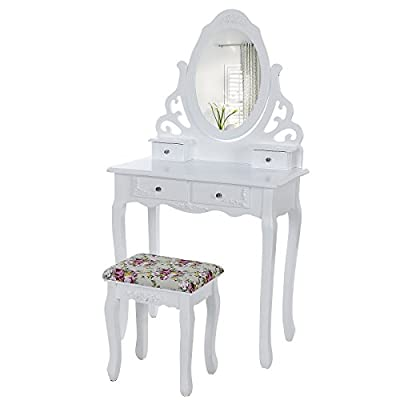 Songmics floral Dressing Table set 4 drawers 1 big mirror and 1 free stool for bedroom RDT04W