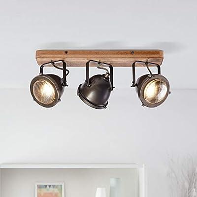Faretti rustici a 3 luci, 3 x GU10 max. 5 Watt in metallo / legno e acciaio spazzolato / ferro
