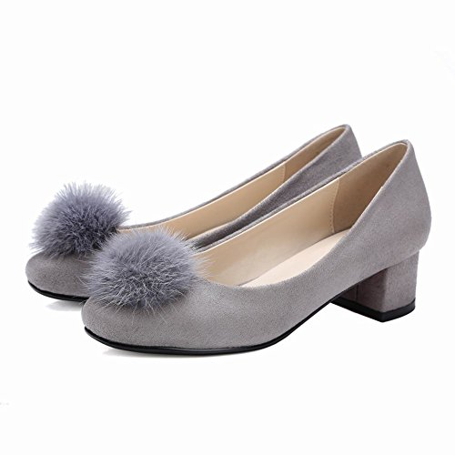 Mee Shoes Damen Pompon vierkant Nubukleder chunky heels Pumps Grau