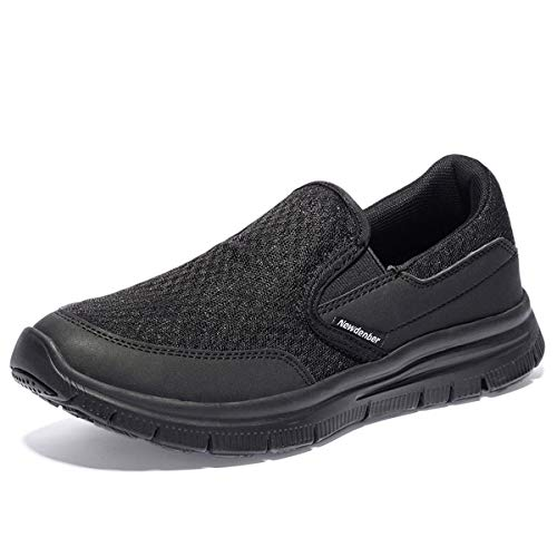 NewDenBer NDB Herren Leichtes Slip On Sneaker Sportschuhe Laufschuhe (50 EU, Schwarz/Schwarz) 3 Schwarz Suede Schuhe