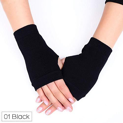 Febelle 1 par de Guantes sin Dedos para Mujer Invierno otoño cálido de Punto Cool Student Dancing Guantes, Negro, Delete