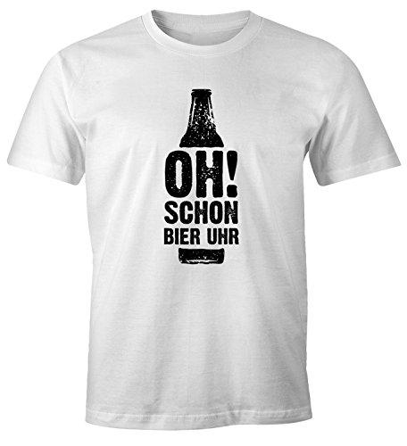 MoonWorks Herren T-Shirt Oh Schon Bier Uhr Bierflasche Fun-Shirt Spruch-Shirt Weiß L -