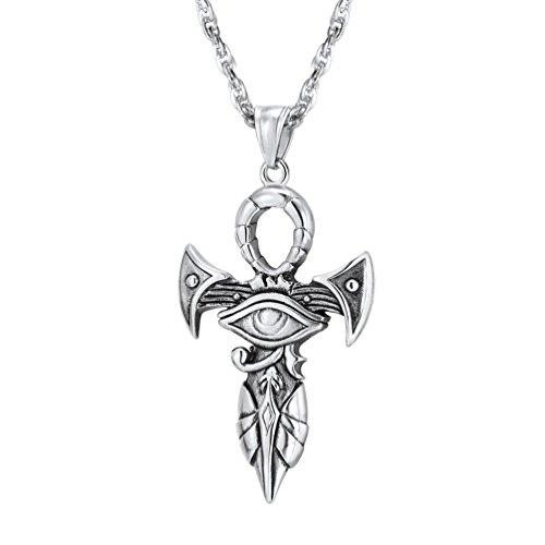 Prosteel collana pendente crocifissa di ankh croce con occhio di horus, acciaio inossidabile, catena regolabile, colore argento, stile egiziano, unisex per donna uomo(confezione regalo)