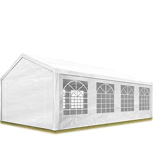TOOLPORT Partyzelt Pavillon 4x8 m in weiß 180 g/m² PE Plane Wasserdicht UV Schutz Festzelt Gartenzelt -