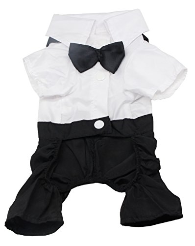 QiCheng&LYS Dog Clothes Pet Stylish Suit Bow Tie Costume,Wedding Shirt Formal Tuxedo with Black Tie Suit ()