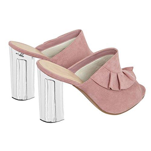 Damen Peep Toe Fellsamt Sandalen Transparent High-Heels Blockabsatz Slingback Pink