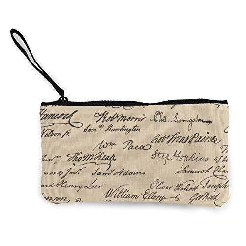 Declaration of Independence Signatures Multifunctional Portable Canvas Coin Purse Phone Pouch Cosmetic Bag,Zippered Wristlets Bag -