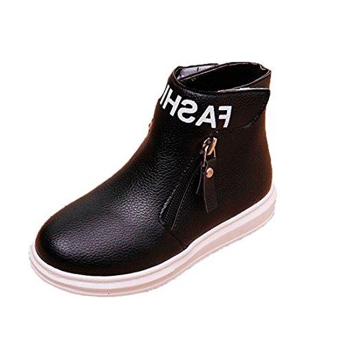 Btruely Kinder Warme Stiefel Mode Kinder Stiefel Baby Winter Schuhe Martin Stiefel Jungen Mädchen Beiläufig Stiefel (33, Schwarz) (2 Schwarze Leder-schuhe)