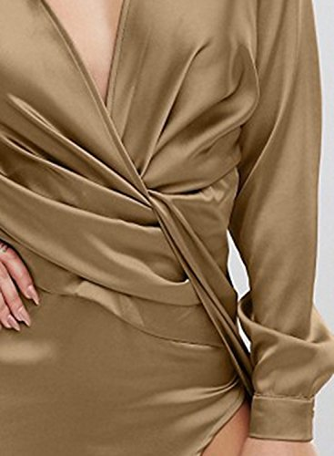 Azbro Women's V Neck Long Sleeve High Slit Long Prom Dress Kaki