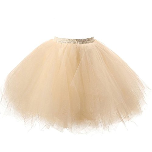Ellames Damen 50er Vintage Petticoat Party Dance Tutu Rock Ballkleid Champagner L/XL