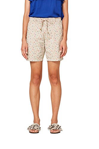 ESPRIT Damen Shorts 998EE1C801, Beige (Light Beige 290), 36 (Print-stretch-shorts)