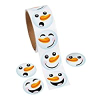 """1 Roll ~ Happy Snowman Face Stickers ~ Approx. 1.5"""" ~ 100 Stickers Total ~ New / Shrink-wrapped ~ Teacher Stickers, Christmas Card Stickers, More"""