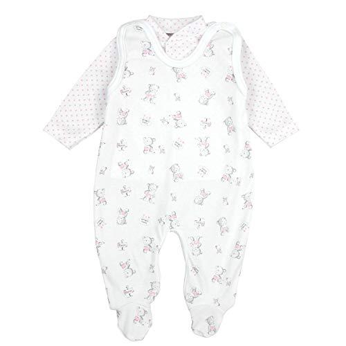 TupTam Baby Unisex Strampler-Set mit Aufdruck Spruch 2-TLG, Farbe: Bärchen/Sterne Rosa, Größe: 62