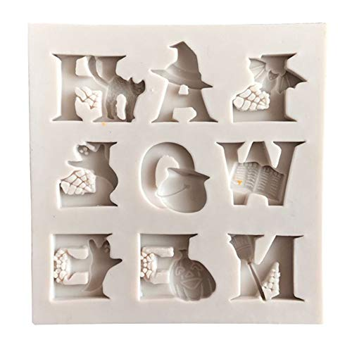 vimbhzlvigour Backen Kuchen Form, Halloween Buchstabe Ghost Katze Kürbis Fondant Form Sugarcraft Decor beige