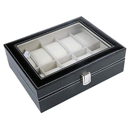 JiHong 12 Grid Leder Uhrenbox Schmuck Display Kollektion Aufbewahrungskoffer Uhr Organizer Box Halter Aufbewahrung