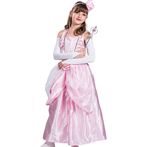 EraSpooky Mädchen Rosa Rose Prinzessin Party Lange Kleid(Rosa, Small)