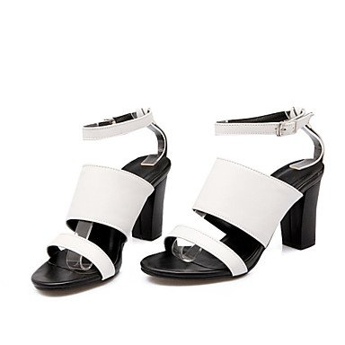 Sommer Schuhe Damen Sandalen Büro Kleid Party & Festivität-maßgeschneiderte Werkstoffe Kunstleder-Blockabsatz-Neuheit Gladiator Club-Schuhe-Weiß Schwarz Black
