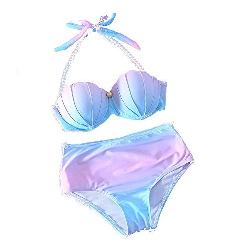 Perlen Bikini (Cystyle Damen Farbverlauf Mehrfarbige Perlen Shell Bikini Set Gepolsterte Meerjungfrau Badeanzug Übergröße (EU M=ASIA L, Stil)