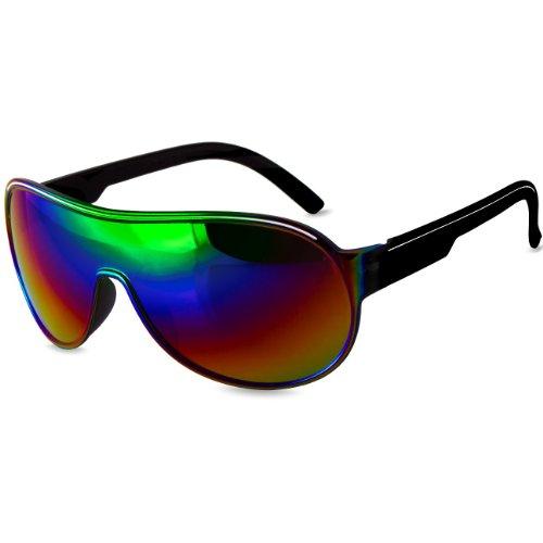 Caspar SG007 Unisex Design Pilotenbrille Sonnenbrille, Farbe:schwarz/lila verspiegelt