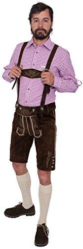 Alpenfashion Herren Lederhose Short dunkelbraun (60)