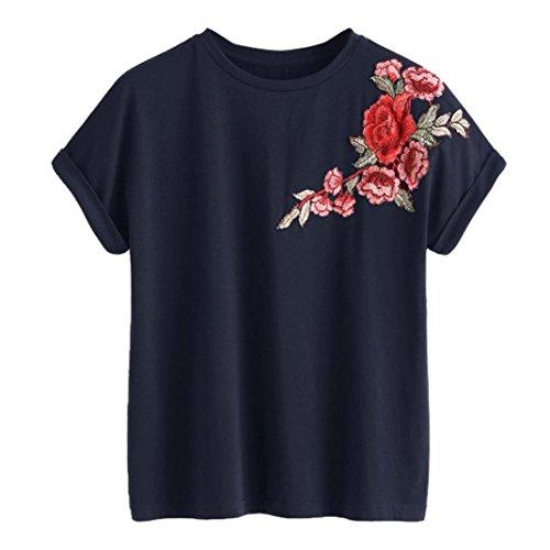 Blusen Damen Kolylong® Frauen Elegant Blumen Stickerei Kurzarm Bluse Lässige Rundhals T-shirt Sommer Casual Shirt Festlich Oberteile Hemden Tunika Sweatshirt Tank Tops (Marine, S)