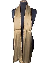 Nella-Mode Hochwertige SEIDENSTOLA in Festlichem Goldbraun; Schal aus edel schimmender Satin Seide, ca. 180x54cm, Handrollierter Seidenschal