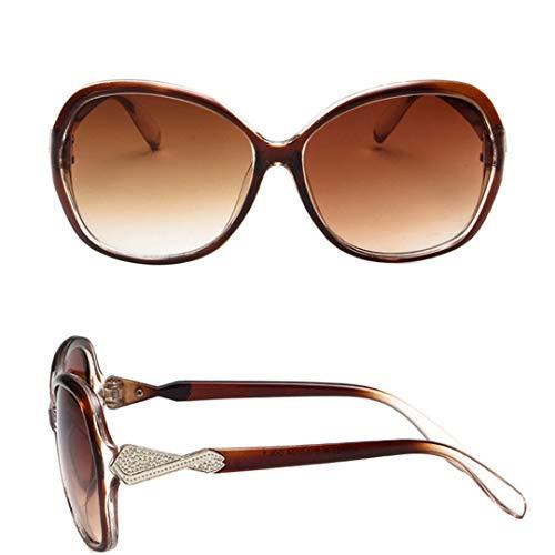 DAIYSNAFDN Großer Rahmen Vintage Sonnenbrille Frauen Brille Lady Retro Metal Sun Glasses Tea