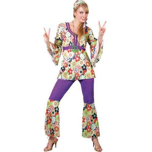 Ladies PLus Size Hippie Chick Costume. Sizes 18 to 24