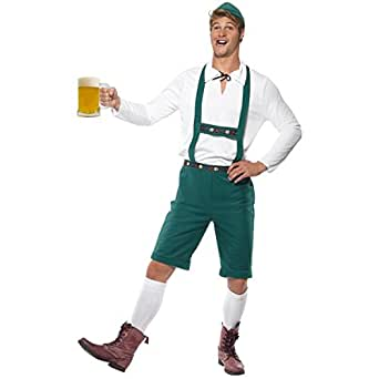 Smiffy's Oktoberfest Green Costume Includes Lederhosen Shorts with Braces, Top and Hat - Large