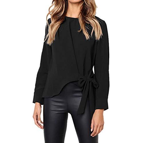 Hmeng Frauen Casual V-Ausschnitt Cuffed Ärmeln Solid Chiffon Bluse Top (Schwarz, M)