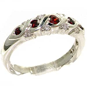 Luxurious Solid Sterling Silver Natural Garnet & 0.16ct Diamond Eternity Anniversary Ring - Size J - Finger Sizes J to Z Available