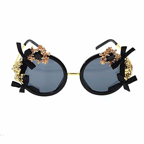 Easy Go Shopping Damen Sonnenbrillen Engel und Bowknot Metall Kristall Barock Blume Polarisierte Brillen für Frauen Strand Show Style Sonnenbrillen