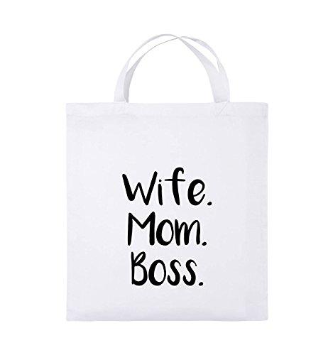 Buste Comiche - Moglie Mom Boss - Borsa In Juta - Manico Corto - 38x42cm - Colore: Nero / Rosa Bianco / Nero