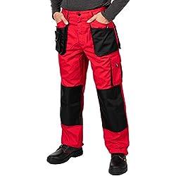 Pantalon de Travail Homme, avec des Poches Genouillere. Pantalon Travail Homme, Vetement Travail, Multi Poches, Grande Taille S - XXXL, Vetement Homme, Noir, Haute qualité (L, Rouge)