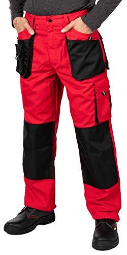 Mazalat Arbeitshosen männer mit Kniepolstertaschen, Größen S-XXXL, Arbeithose Herren, Schwarz Arbeitshose, Arbeits Hose, Cargo Hosen, Qualitat (L, Rot)