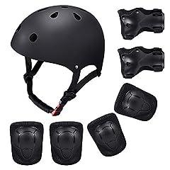 Idea Regalo - SKL Set di Casco, Ginocchiere, gomitiere e Guanti in Gel per Bambini, per Hoverboard, Scooter, BMX e Bicicletta (Nero)
