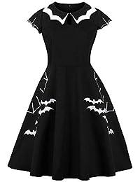 LuckyGirls Vestido de Fiesta para Mujer Cóctel Manga Corta Elegantes Estampado de Bate Casaul Vestido de