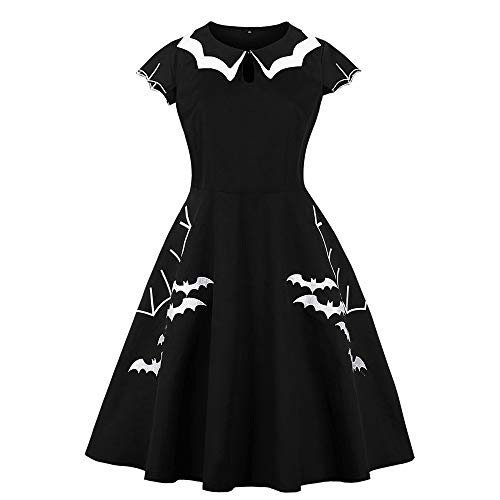 VEMOW Heißer Elegante Damen Frauen Halloween Party Cocktailkleid Retro Kleid Elegante Gedruckt Bat Vintage Abendgesellschaft Kleider(Schwarz, EU-40/CN-2XL)