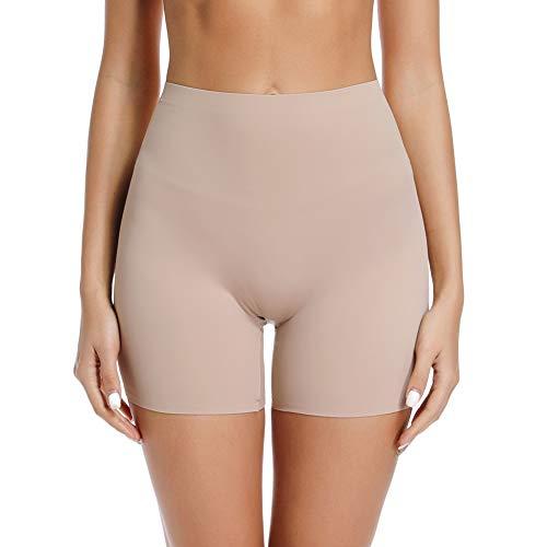 Joyshaper Damen Unterhose Sicherheit Short Nahtlose Panty Miederhose Unterwäsche Kurze Hose Unter Rock Kleid Hose oder Zuhause, Beige, M