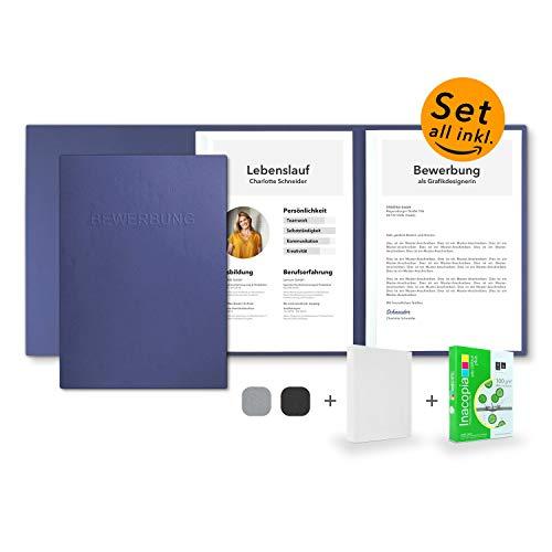 Bewerbungsset // 10 Stück 3-teilige Bewerbungsmappen Blau + 250 Blatt 100 g/m² Premium Bewerbungspapier + 10 Stück B4 Versandtaschen in Weiß - Das ultimative Bewerbungsmappen-Bundle - All inkl.