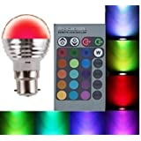 Lightahead® 16 Color Dimmable LED Light Bulb with IR Remote Control - RGB Ambient Mood Lighting (B-22 Base) [Energy Class A+] (Round Top)